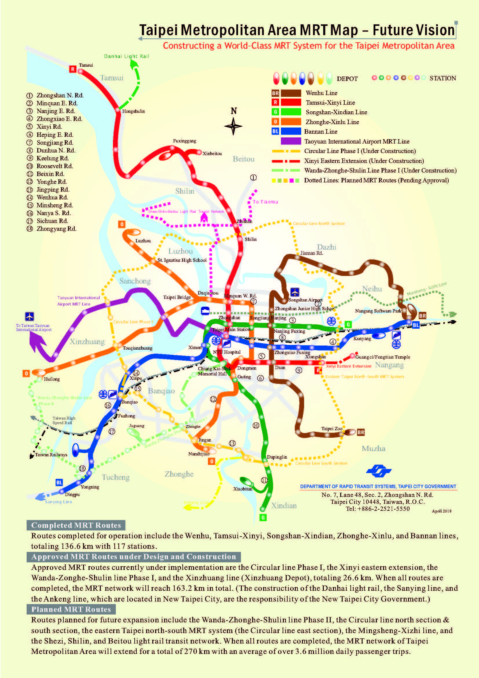 Taipei Metropolitan Area MRT Map – Future Vision, jpg download, opened with new window.