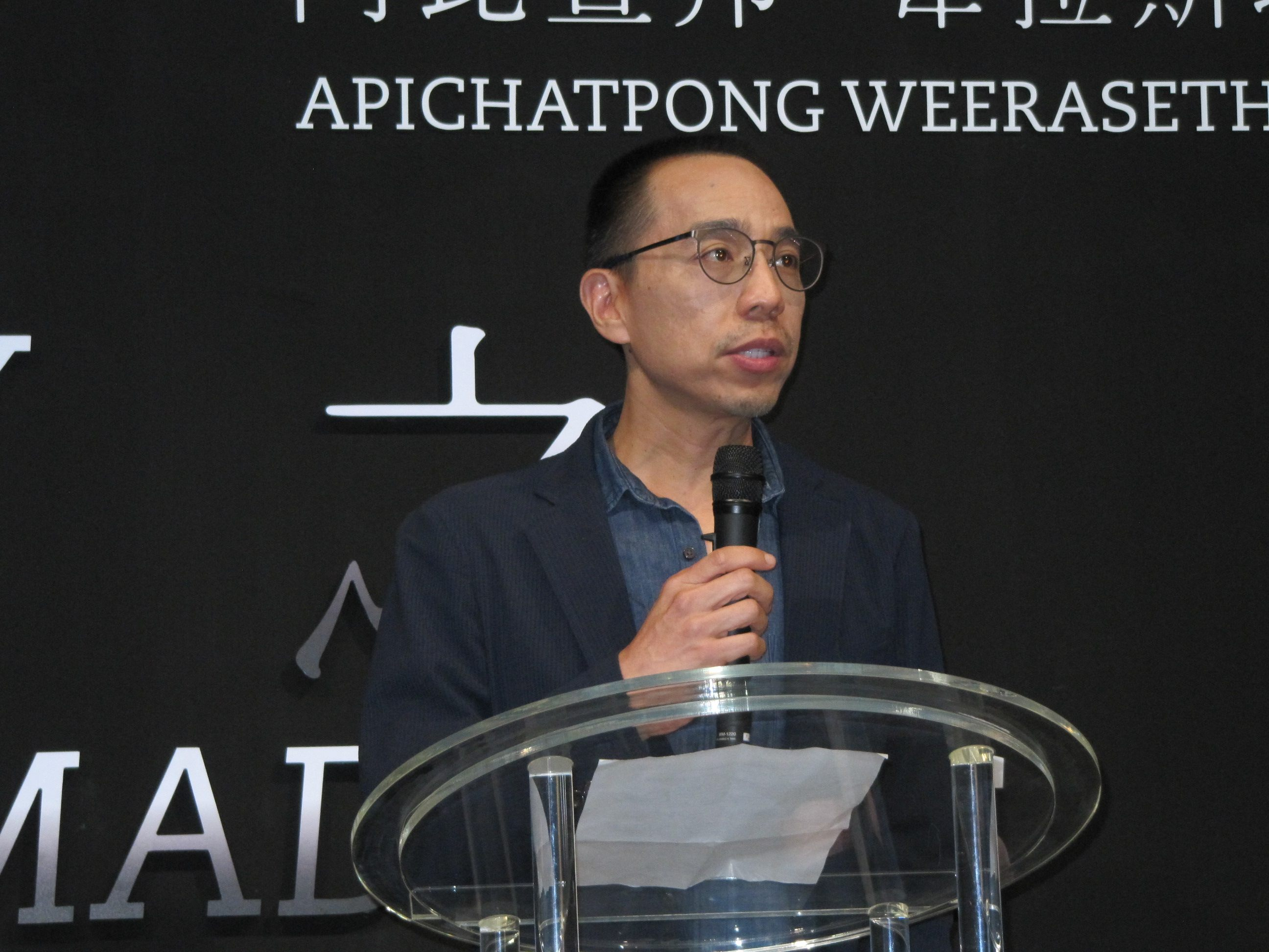 Apichatpong Weerasethakul talks about his art at the press conference