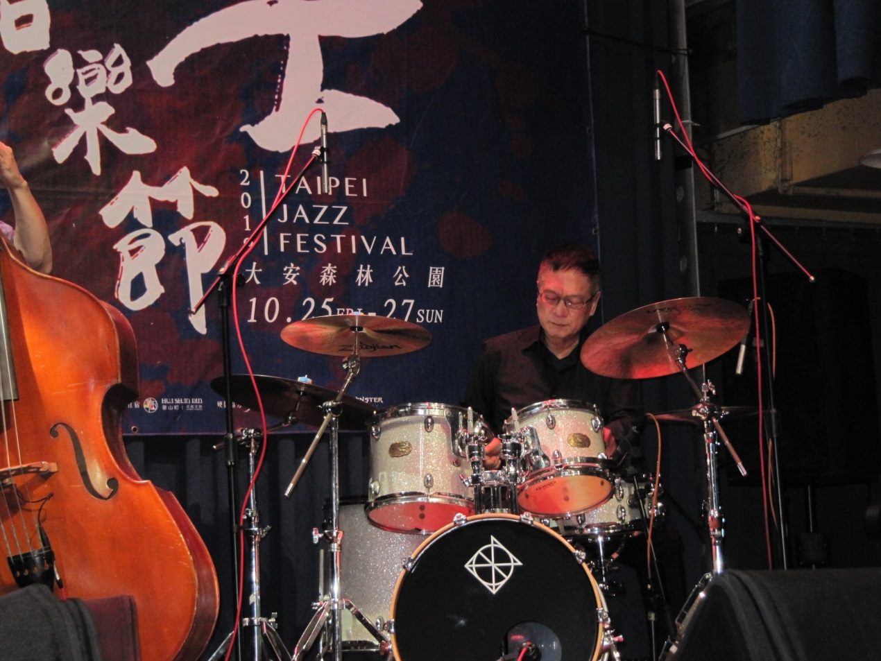 Taiwanese drummer Rich Huang performs during the press conference on October 23.