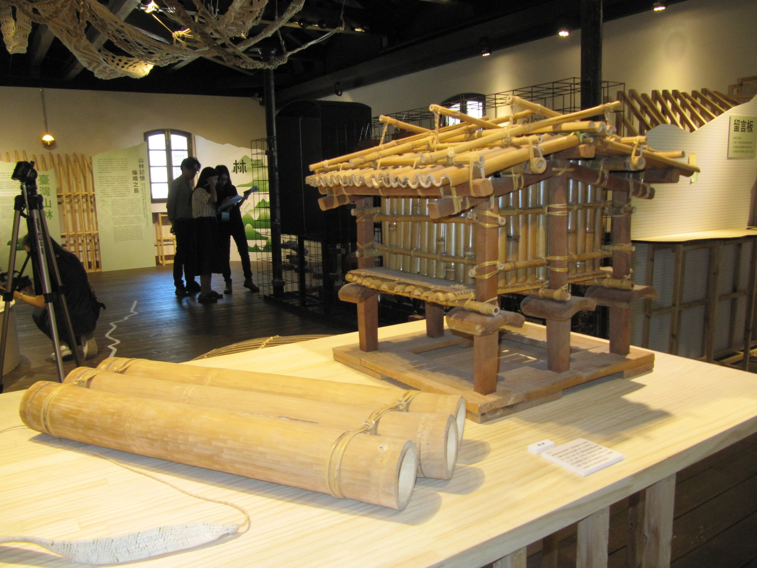 Viewers attend the exhibition at the historic Mitsui Warehouse