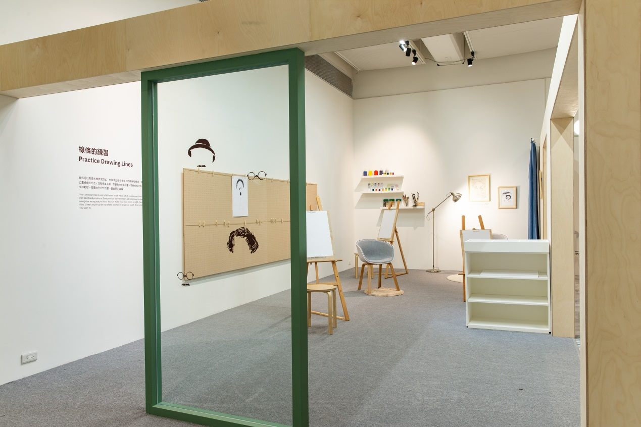 "An interactive room of the ""Face to Face"" exhibition for children to practice drawing lines."