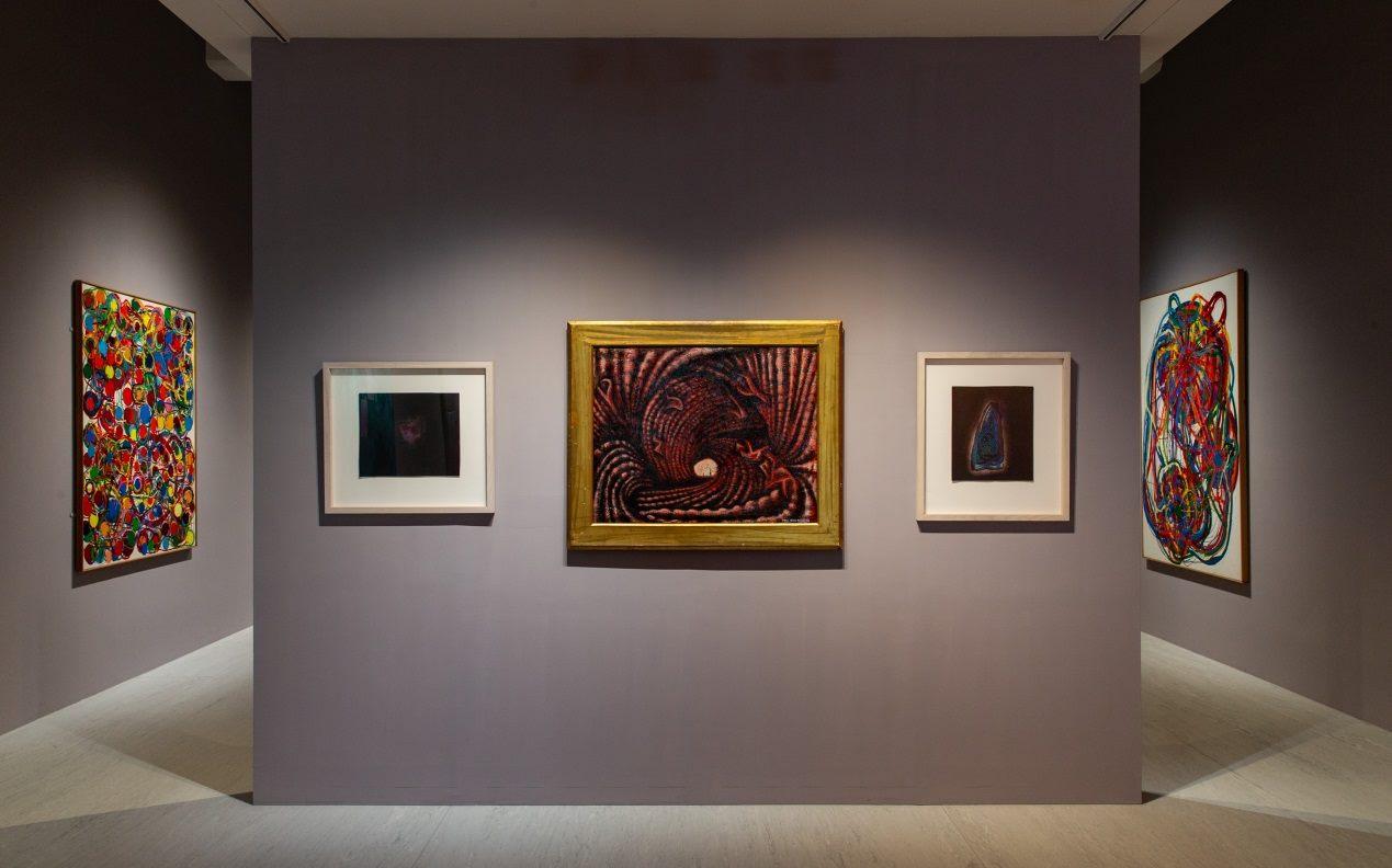 "Japanese artist Yayoi Kusama's ""Accumulation of the Corpses"" (center) at the TFAM"