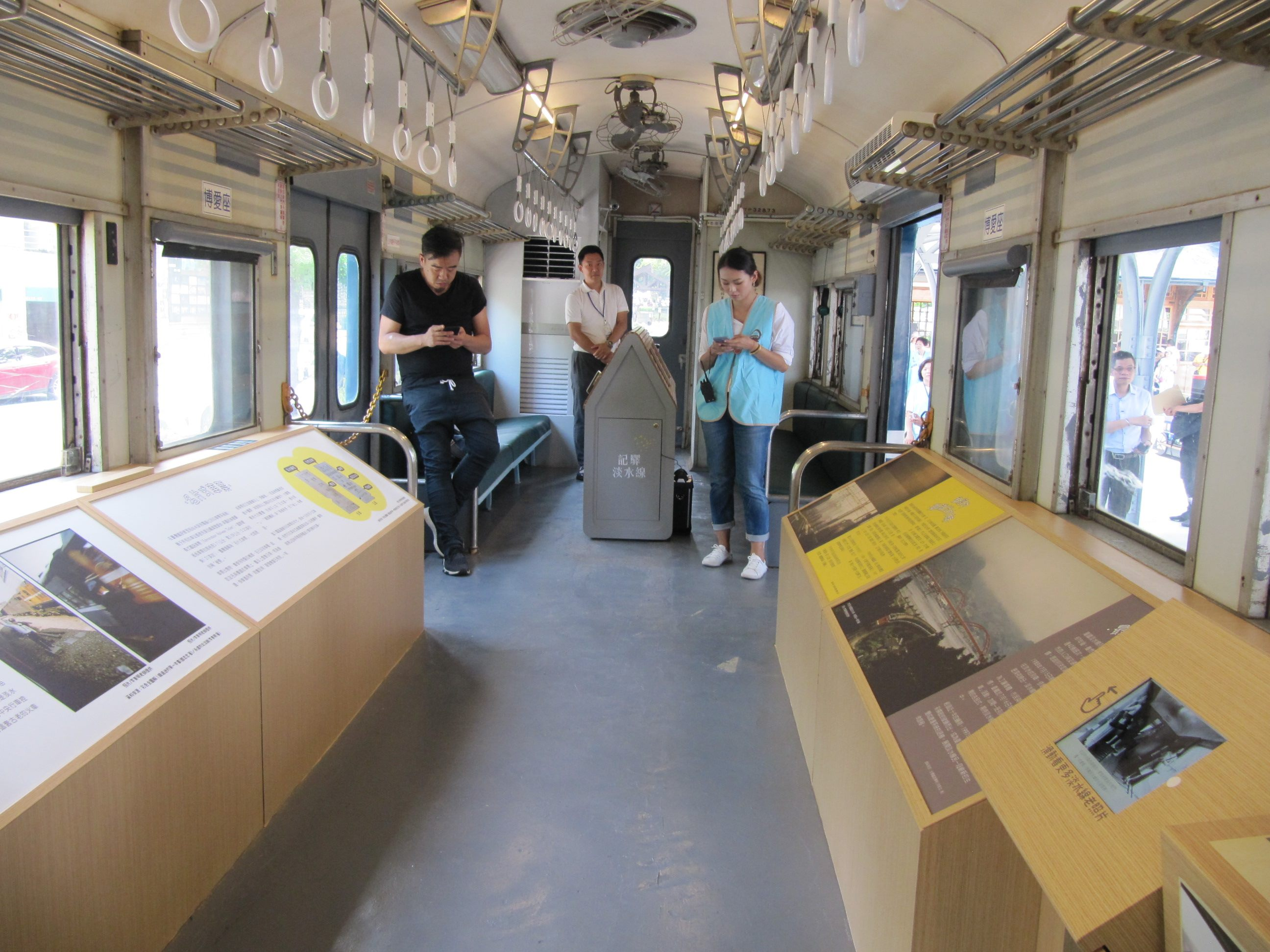 The interior of the 35TP32850 railcar has been turned into an exhibition space where visitors could learn about the history of the Tamsui Line.