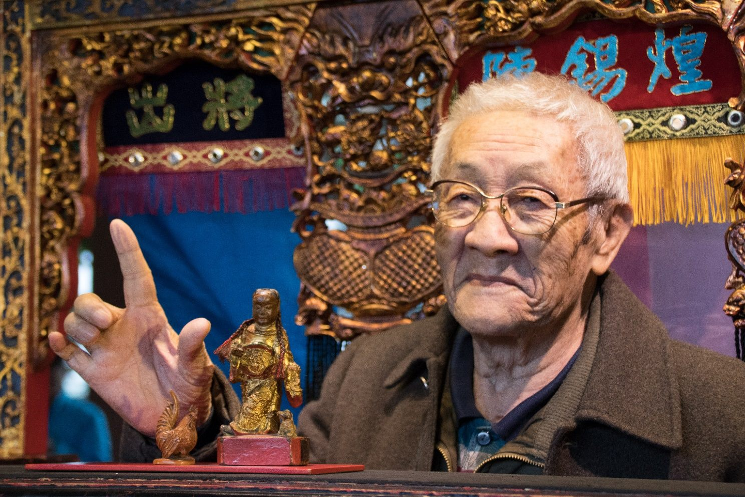 Chen Xihuang (陳錫煌) is a national treasure. At 89 years old, he still promotes the art of traditional Taiwanese puppet show.