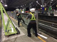 Installation of platform doors.