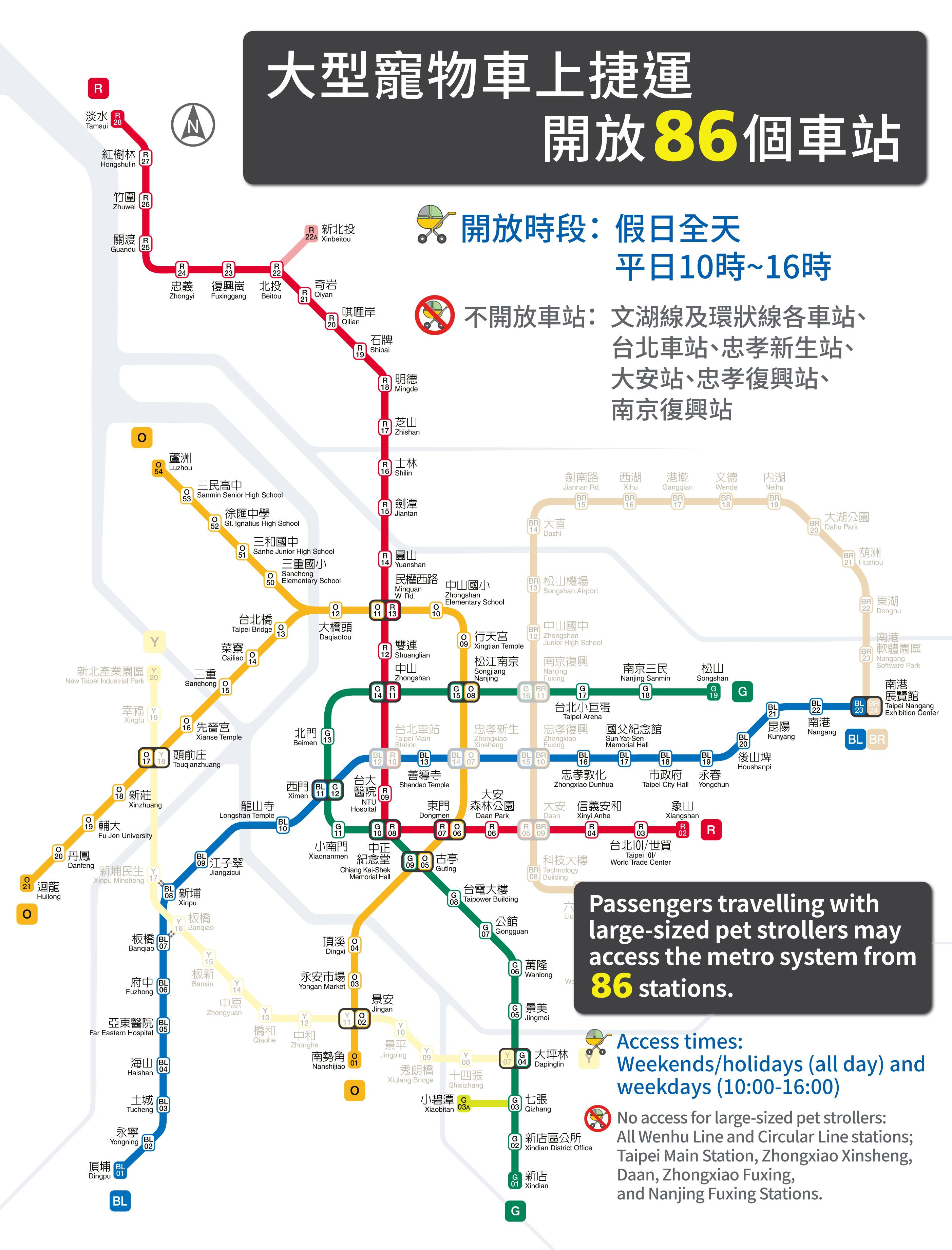 Passengers travelling with large-sized pet strollers may access the metro system from 86 stations.