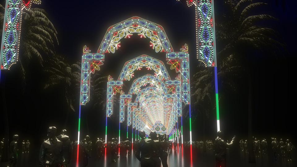 「Galleria」位於仁愛路四段,是由4~20多公尺不同間隔的21個拱門,構成全長311米長的光雕隧