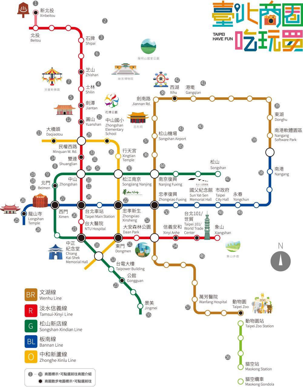 台北市商圈捷運地圖