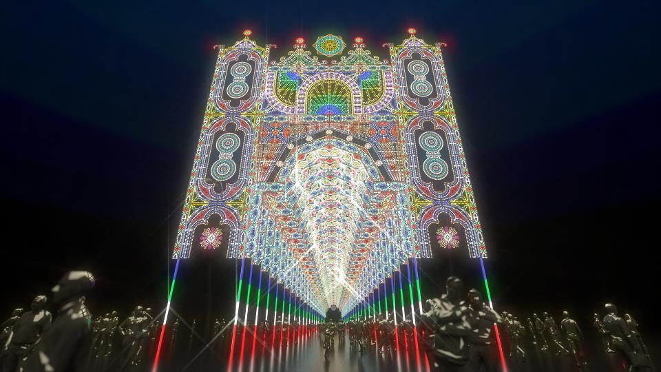 「Façade」是設置在仁愛路四段逸仙路口的大型建築物,呈現華麗、壯觀、雄偉氣氛,高度