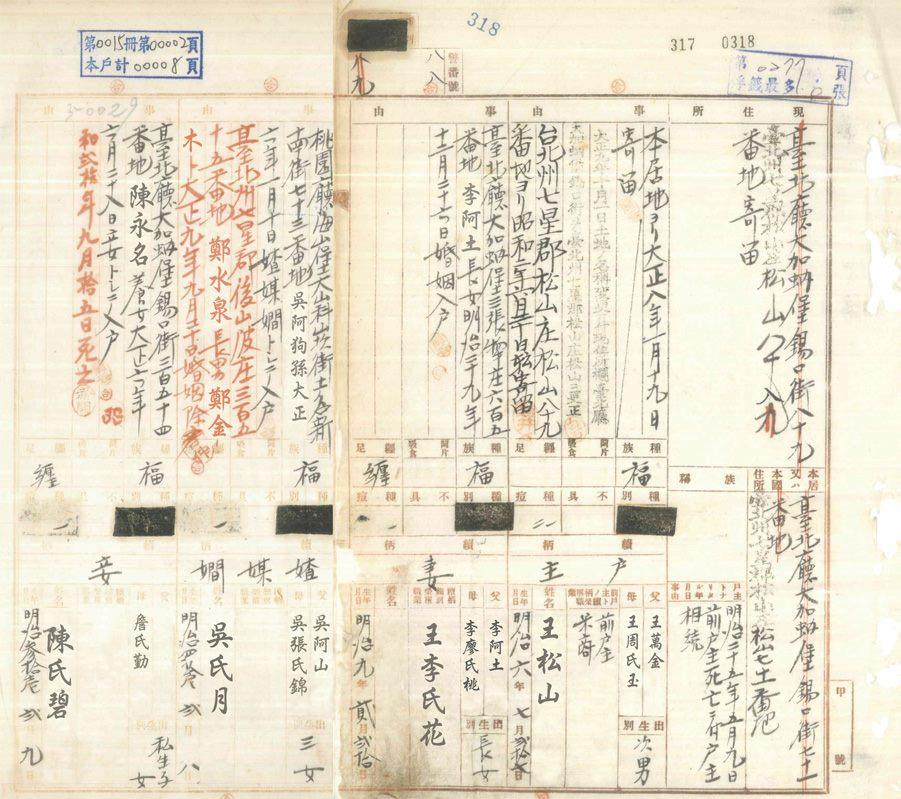 謄本1-日據時期戶長配偶的稱謂分為正室(妻)及側室(妾),而婢女的稱謂則為查某嫺。