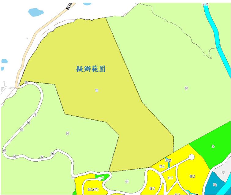北投區稻香路自辦市地重劃範圍及土地使用分區示意圖