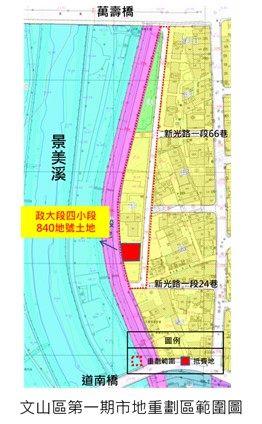 文山區第一期市地重劃區範圍圖