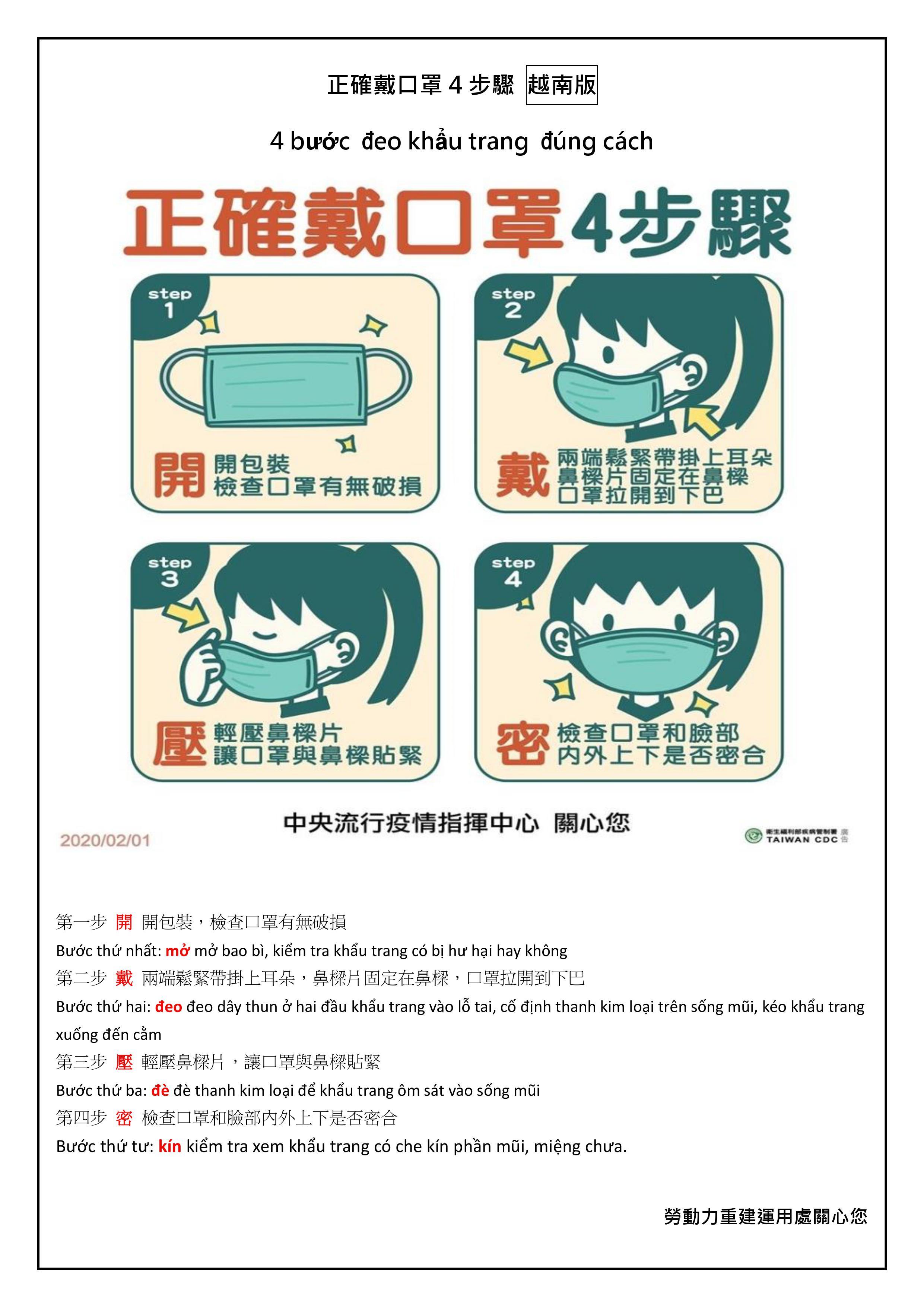 正確戴口罩的四步驟-越南文