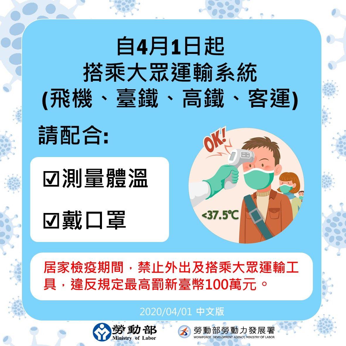 自4月1日起搭乘大眾運輸系統請配合測量體溫戴口罩-中文