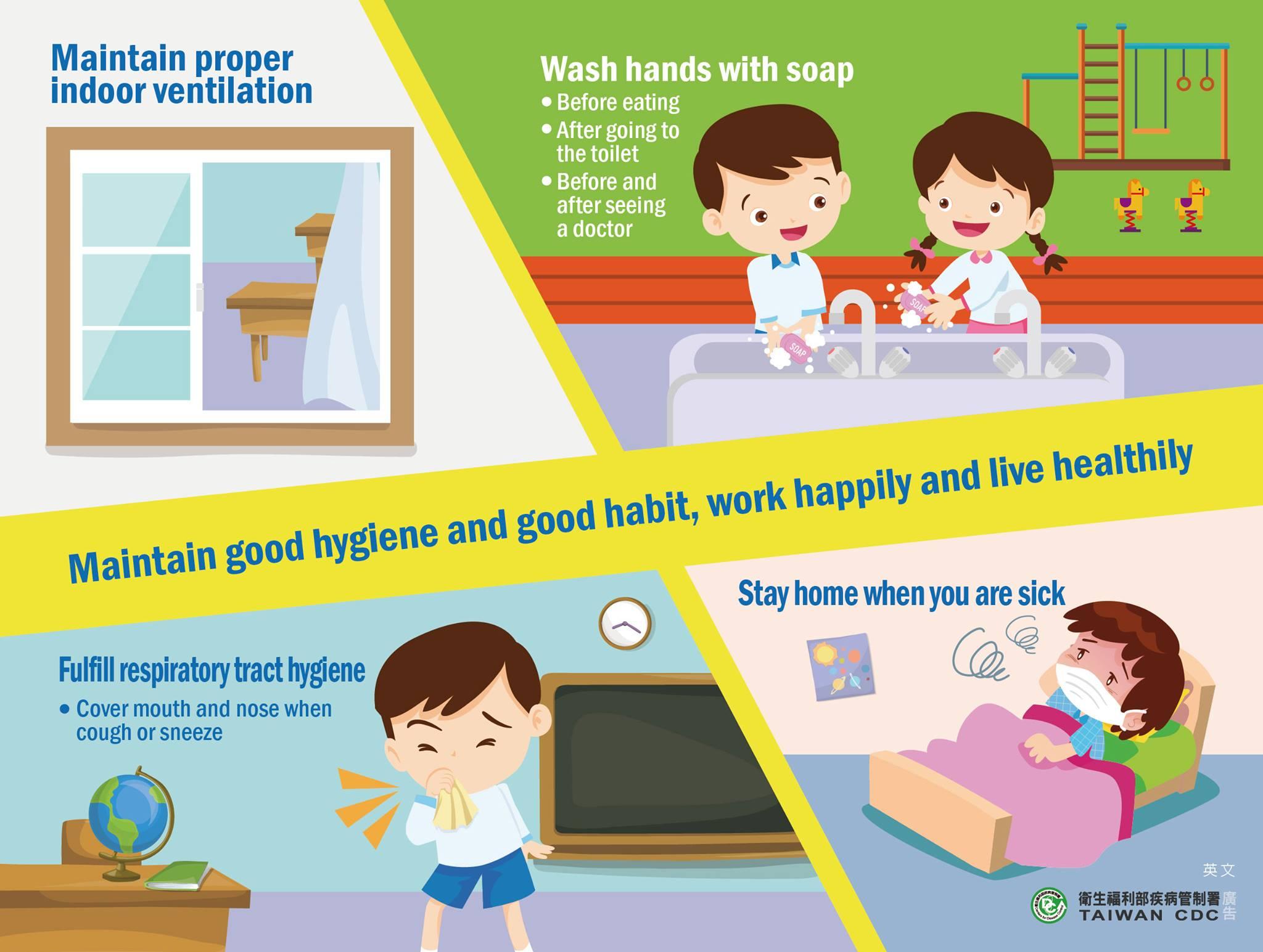 衛生福利部宣導保持衛生好習慣好防疫-英文