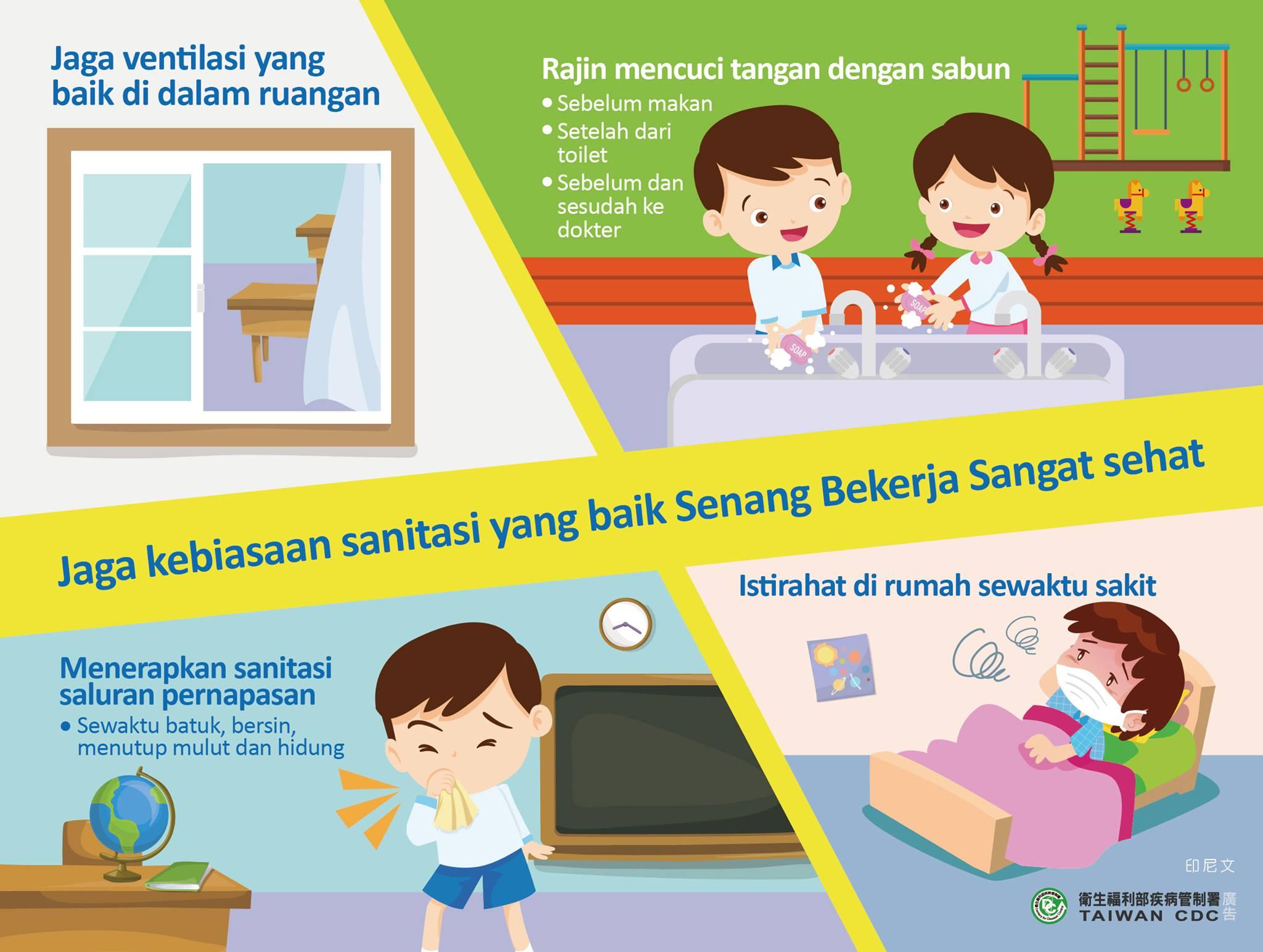 衛生福利部宣導保持衛生好習慣好防疫-印尼文