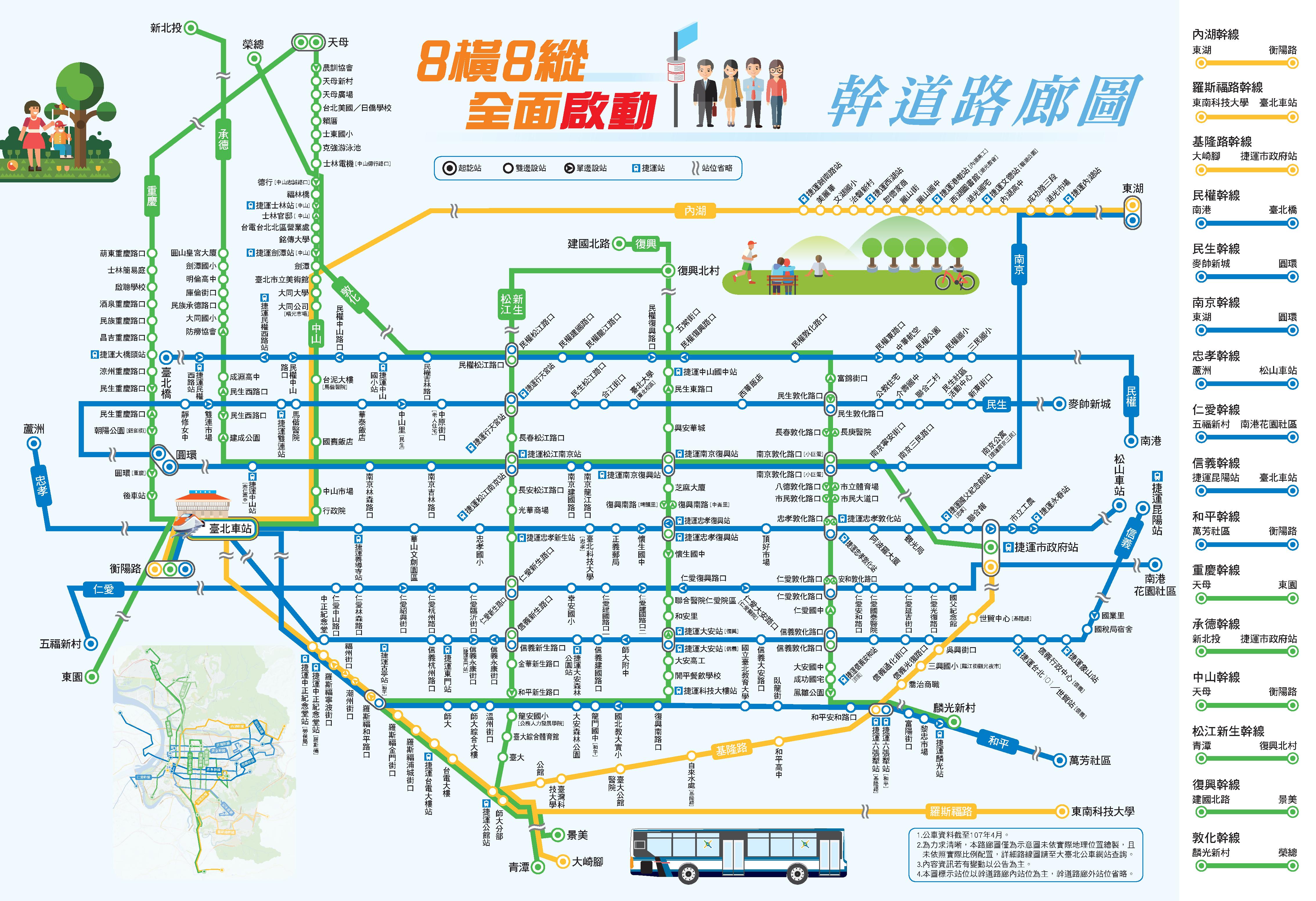 8橫8縱幹線公車路網,全面啟動一覽圖