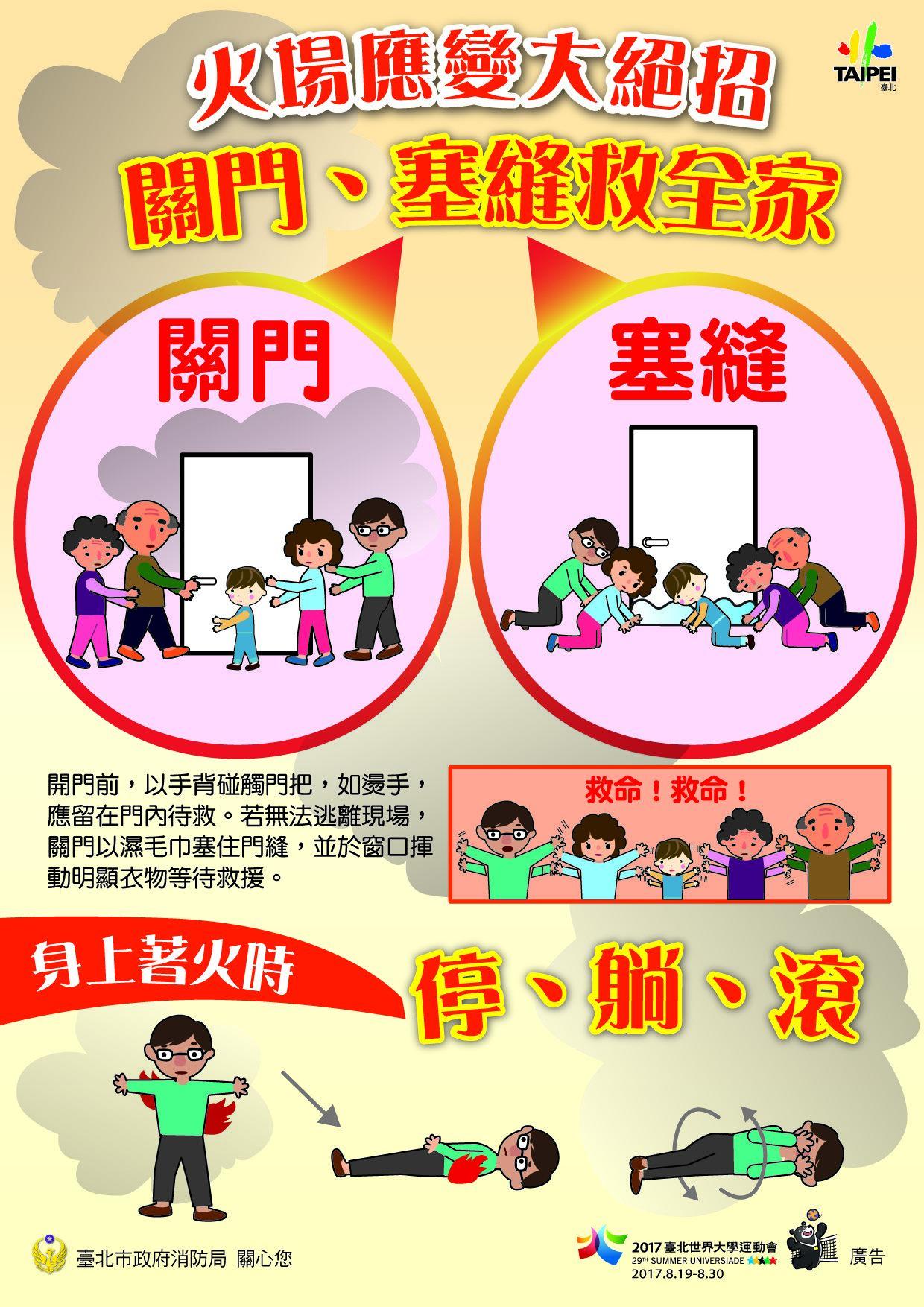 1.火場應變大絕招,關門、塞縫救全家、停躺滾(中文)