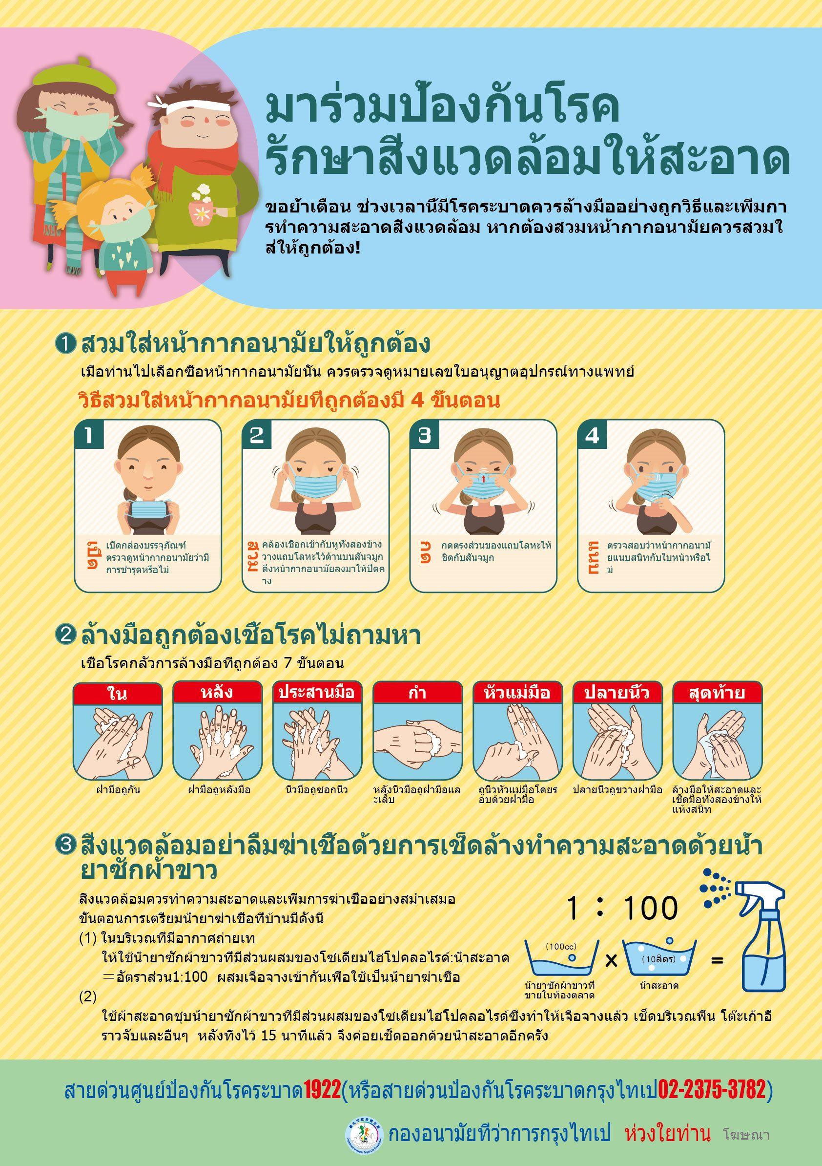 ป้องกันโรคระบาดที่ถูกต้องมาร่วมทำความสะอาดสิ่งแวดล้อม-ฉบับหลายภาษา