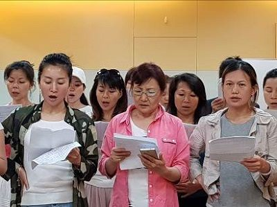 Students practicing singing