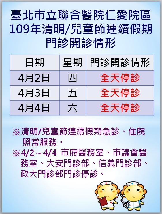 聯醫仁愛院區-109年清明/兒童節連續假期門診開診情形