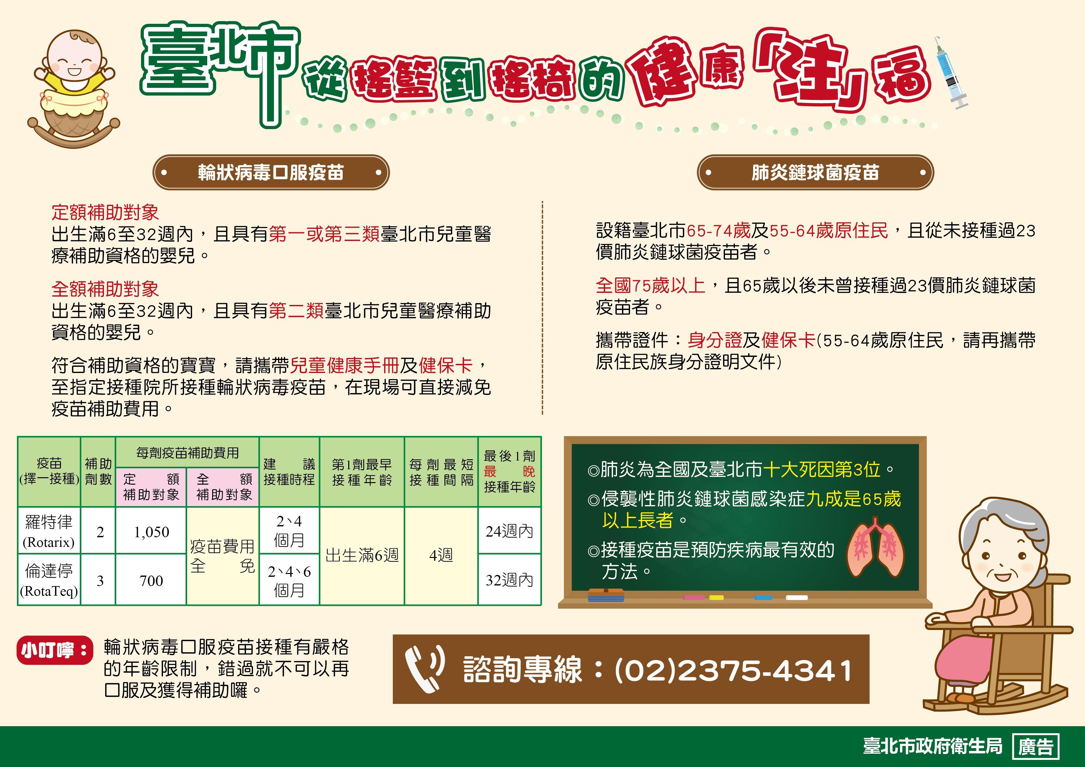 臺北市輪狀病毒疫苗及老人肺炎鏈球菌疫苗宣導