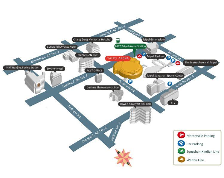 Taipei Arena Traffic Map