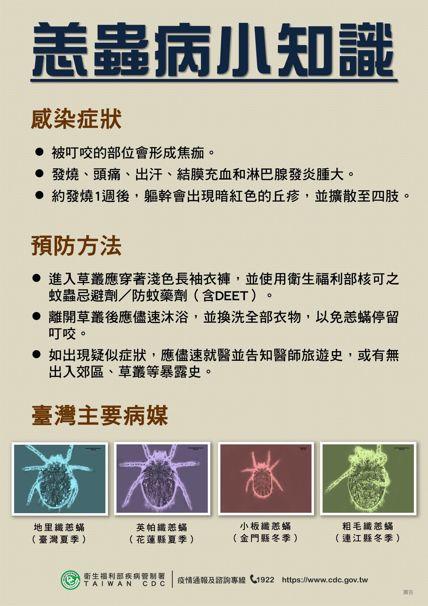 Poster on chiggers on how to protect oneself from scrub typhus