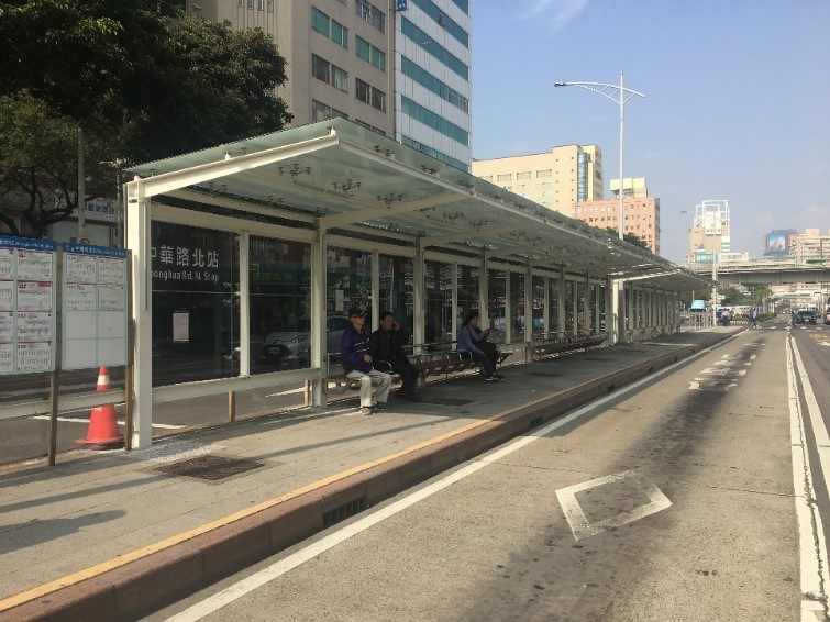 A bus stop in downtown Taipei