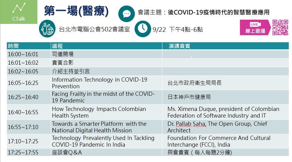 2020智慧城市高峰會暨展覽-CTALK線上視訊會議會議議程