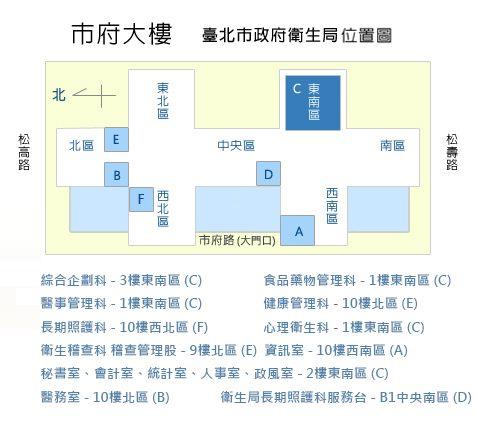 臺北市政府衛生局位置圖