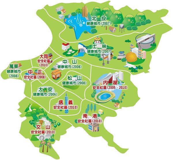 台北市12區加入國際組織之年度