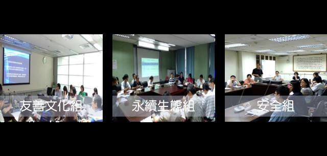 臺北市召開健康城市各工作小組會議,包含友善文化組、永續生態組、安全組、活力康健組及繁榮便捷組(共15次,5組各3次)