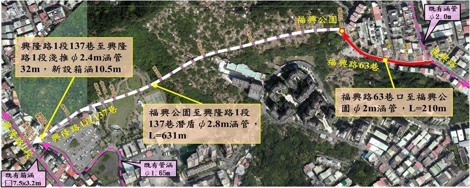 福興路分流工程位置圖