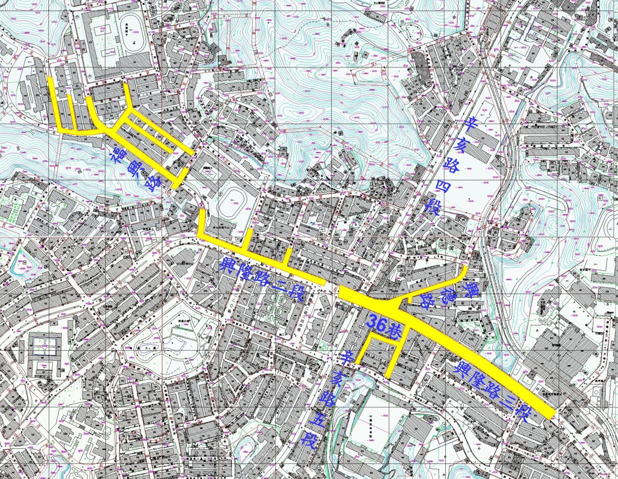 興隆路幹線積水區位及範圍圖