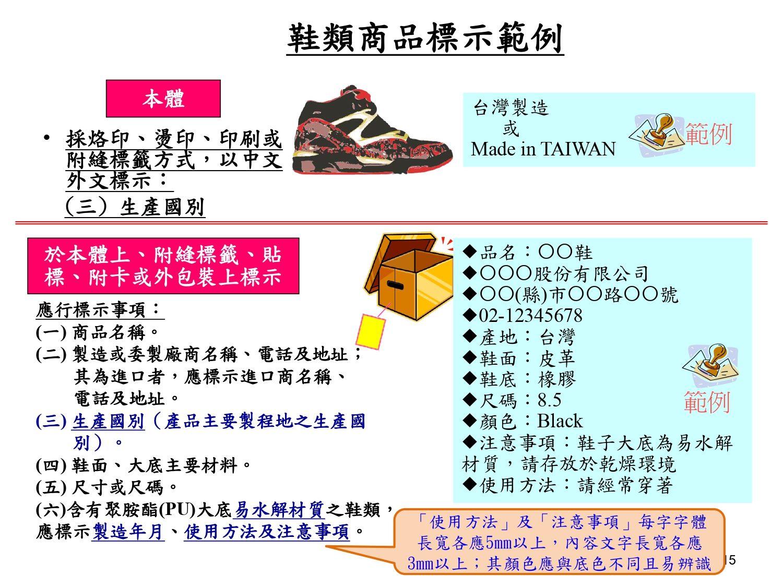 鞋類商品正確標示範例
