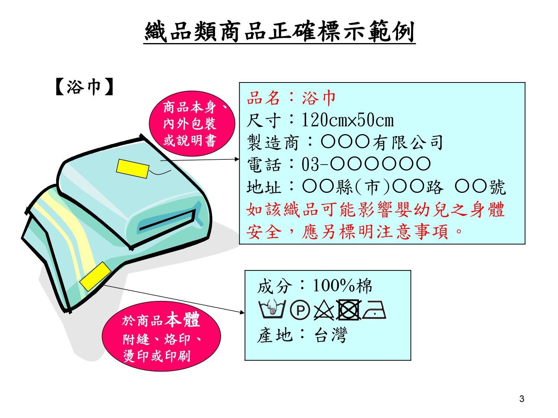 織品類商品正確標示範例