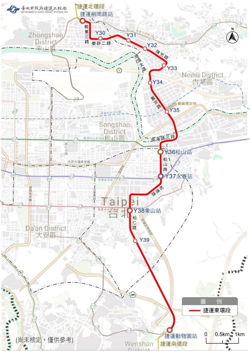 捷運環狀線東環段路線示意圖