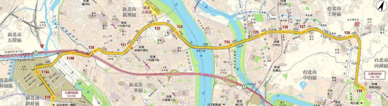 捷運環狀線北環段路線示意圖