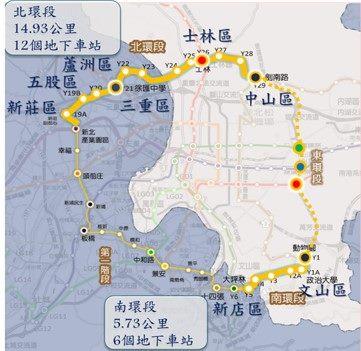 臺北捷運環狀線TOD路線圖