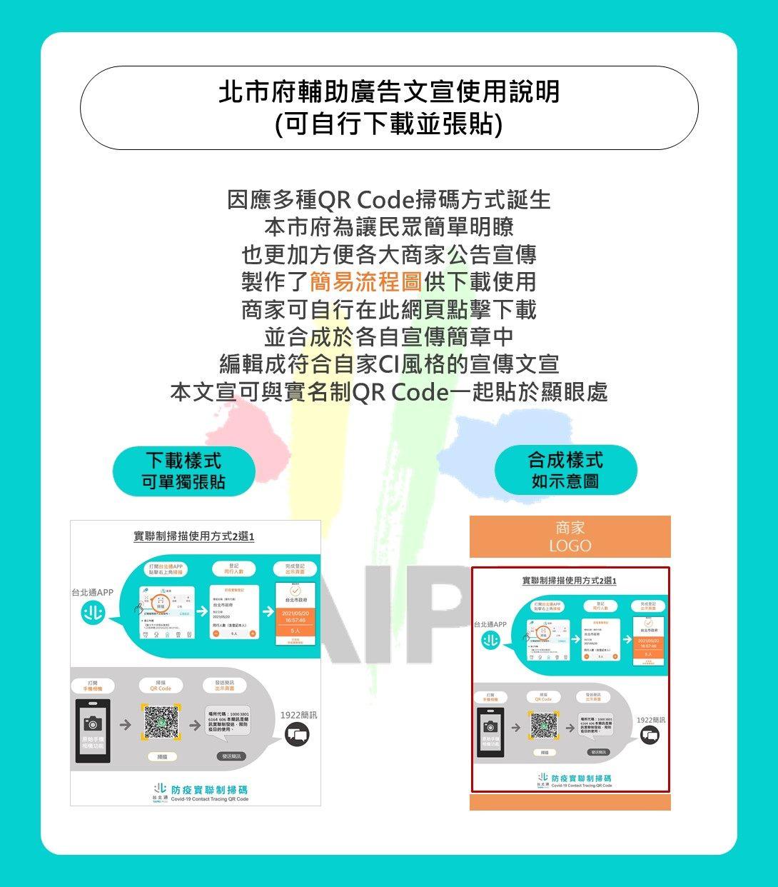 因應多種QR Code掃碼方式誕生,本市府為讓民眾簡單明瞭,也更加方便各大商家公告宣傳,製作了簡易流程圖供下載使用,商家可自行在此網頁點擊下載,並合成於各自宣傳簡章中,編輯成符合自家CI風格的宣傳文宣,本文宣可與實名制QR Code一起貼於顯眼處